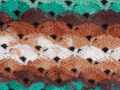 Diagonal Shells Crochet Stitch - Right Handed Crochet Tutorial