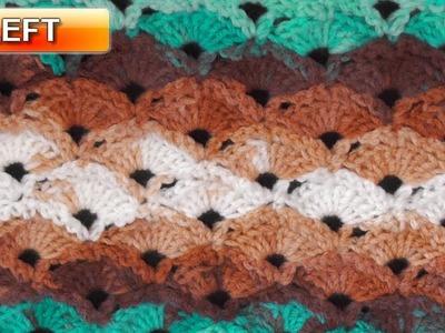 Diagonal Shells Crochet Stitch - Left Handed Crochet Tutorial
