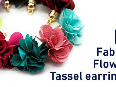 DIY Fabric flower tassel charms earrings | jewelry for beginners  | Beads art