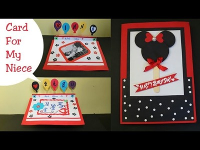 DIY Mickey Mouse Card for Kids.Making Disney card.Birthday popup card.Disney punch art.Circle punch