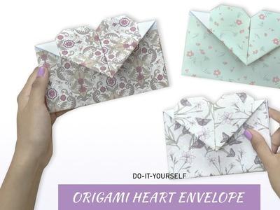 DIY Origami Heart Paper Envelope   Paper Craft