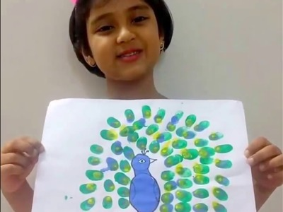 Finger Painting Peacock, Learn finger painting by kids - coloring activity for kids