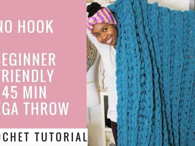 Hand Crochet Jumbo Throw.Baby Blanket with no hook.needle