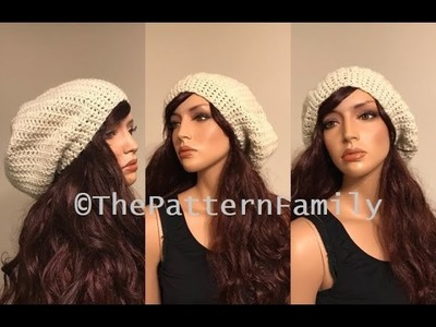 How to Crochet a Slouchy Tam Hat Pattern #204│by ThePatternFamily
