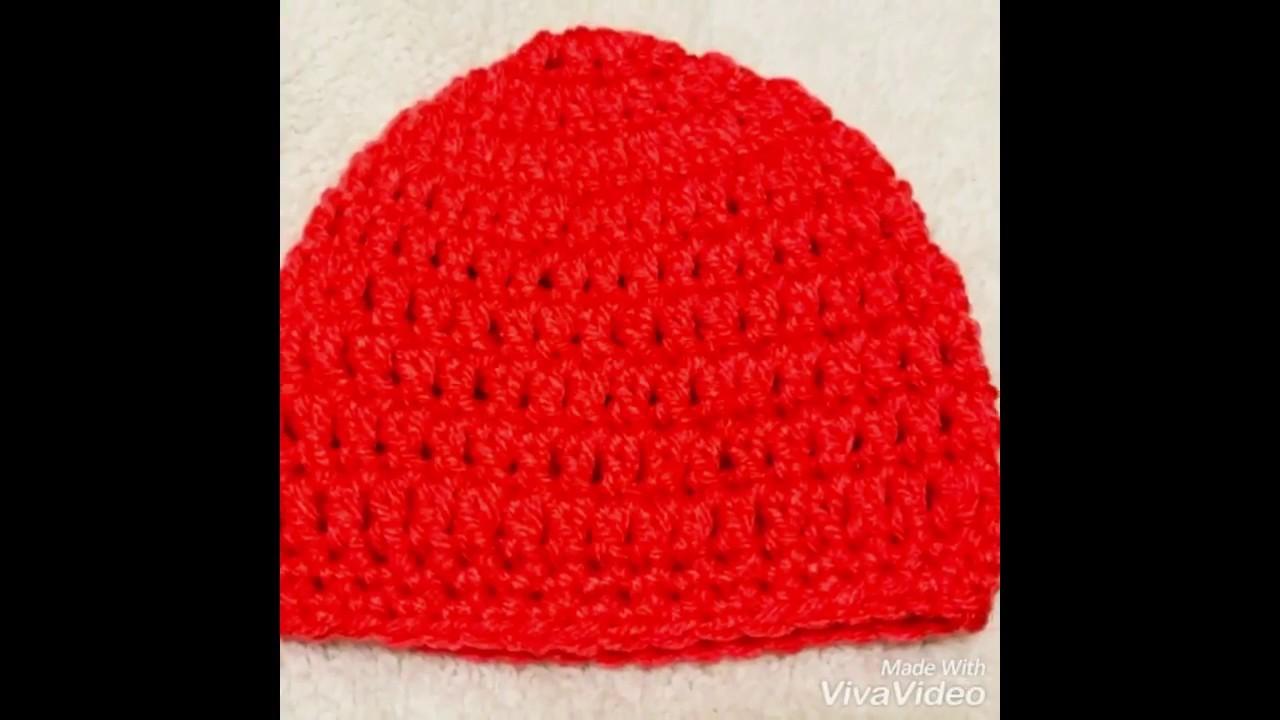 How to crochet Newborn baby beanie.cap