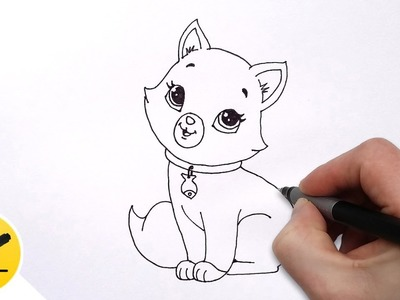 How to Draw a Cat for Kids - Cute Drawing of Animals