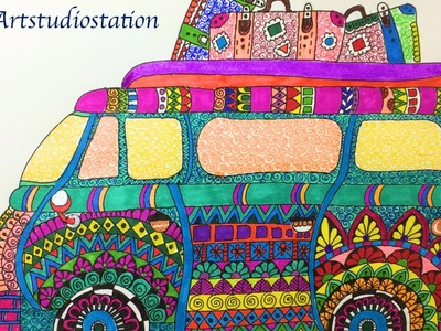 ????  ????  How to draw Mandala Bus ????  ????
