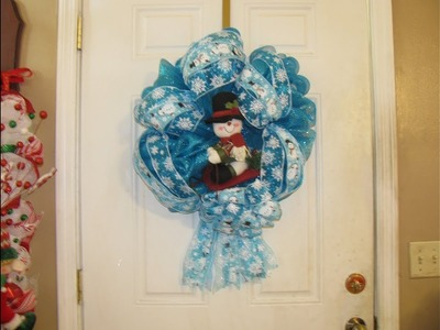 How To Make Carmen's Snowman Sleigh Ribbon Wreath