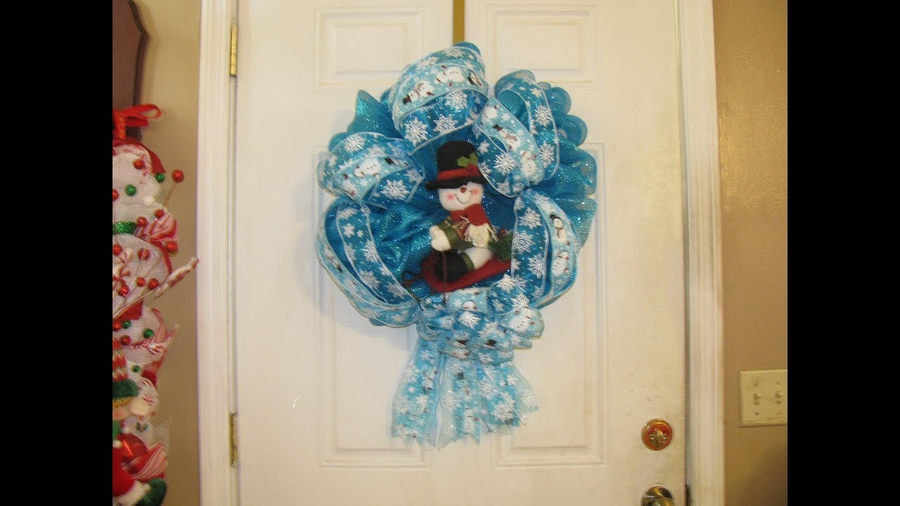 How To Make Carmen's Snowman Sleigh Ribbon Wreath