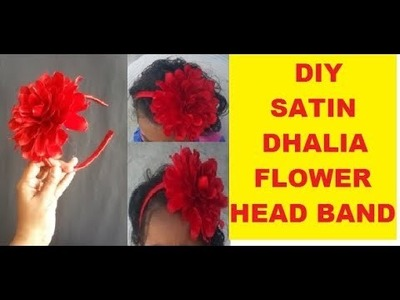 HOW TO MAKE SATIN RIBBON BLOOMING FLOWER & A HEAD BAND EASILY