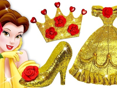 Learn Colors Play Doh Barbie Disney Princess Belle Sparkle Shoes High Heels Dress Crown Toys