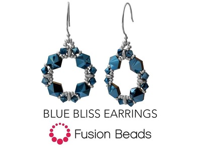 Learn how to create the Blue Bliss earrings by Fusion Beads