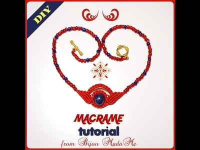 Macrame necklace tutorial. DIY macrame jewelry. How to make an easy egyptian macrame necklace.
