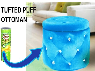 Never waste Pringles cans after watching it.Real furniture ottoman from Pringles cans