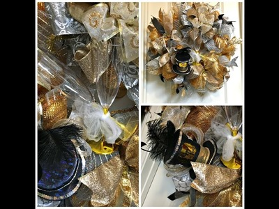 New Years Wreath Pouf.Curl Method with Gold and Silver