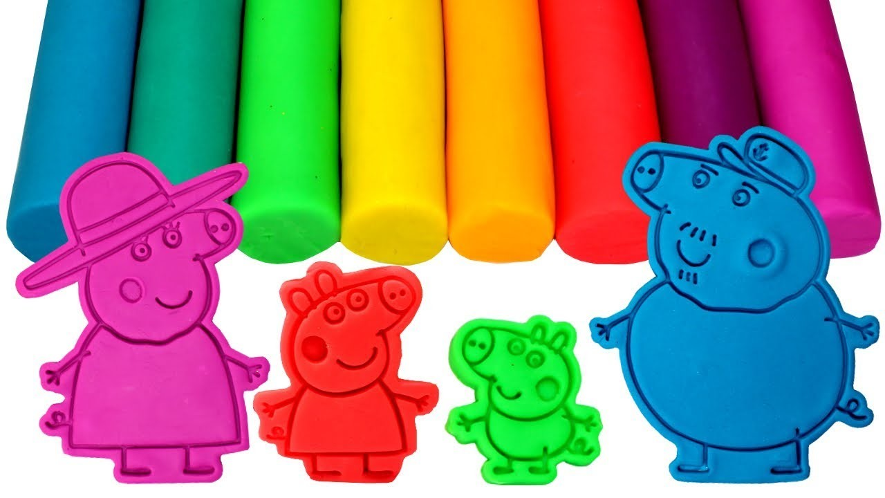 Peppa Pig Play Doh Molds Learn Colors with Granny Pig Grandpa Pig Peppa and George Fun Learning