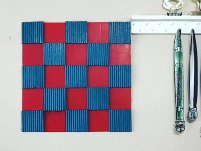 Plastic Straws DIY Boys Room Wall Decor - Checkerboard Wall Display