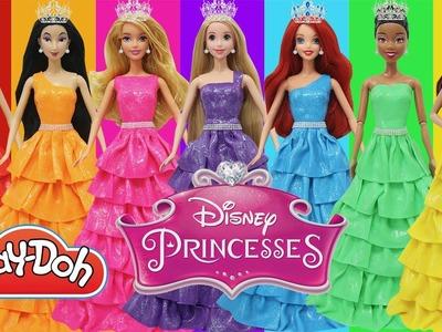 Play Doh Dress Disney Princesses Ariel Tiana Aurora Cinderella  Belle Mulan Rapunzel