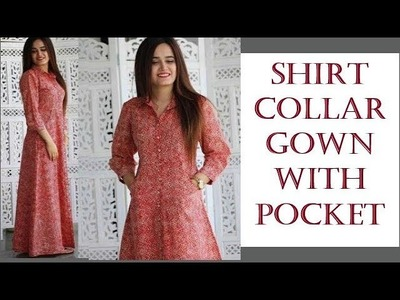 SHIRT COLLAR GOWN WITH POCKET शर्ट कॉलर गाउन विथ पॉकेट