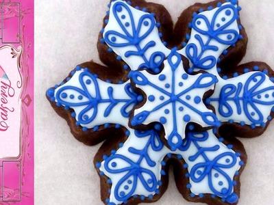 Snowflake Cookie Chocolate sugar cookie Tutorial