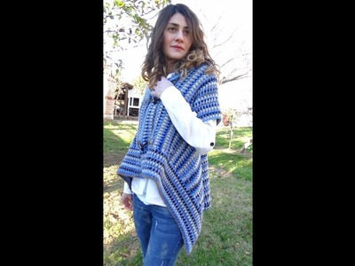 Striped Crochet one piece Cardigan! Easy and warm!