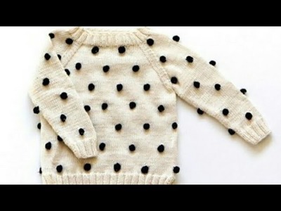 Woolen bubbles on sweater.Knitting in hindi.Sweater for babies:Design-96