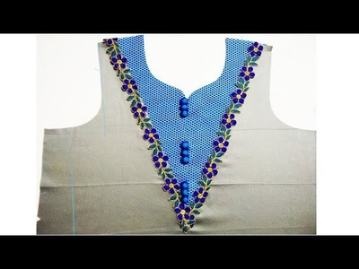 Beautiful & Latest V neck design for Kurti {suit, kameez} cutting and stitching