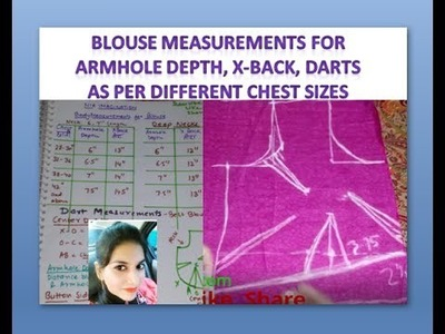 Blouse measurements for Armhole depth, X-Back, darts as per different Chest sizes | in English
