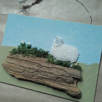 Canvas Board Sheep wall hanging