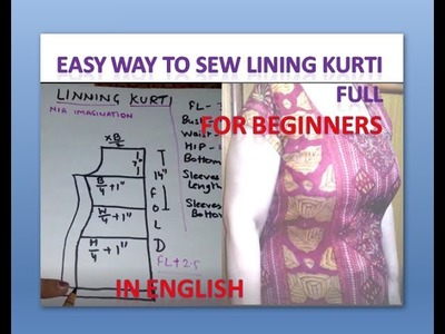 Easy way to sew Lining kurti Full for Beginners | in English