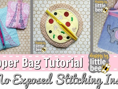 """""""Flipper Zipper"""" No Exposed Stitching Inside Bag, In the Hoop Embroidery Zipper Bag Tutorial"""