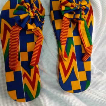 Flops branded with African print