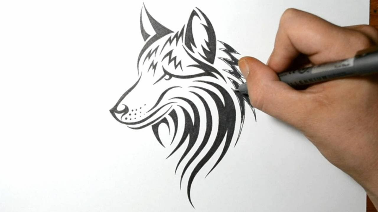 How to Draw a Wolf Dog - Tribal Tattoo Design Style