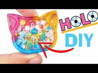 HOW TO MAKE HOLO DIY CRAFT ASMR RELAXING Cat Shaker Charm epoxy resin mold