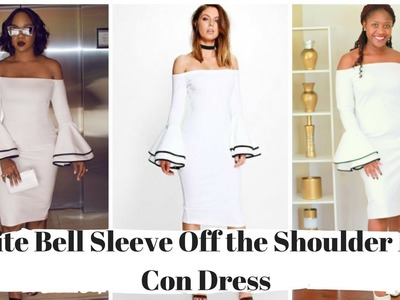 How to Sew A White Bell Sleeve Off the Shoulder Bodycon Dress