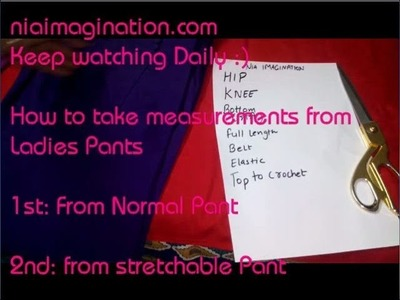 How to take measurements from ladies pants | in English