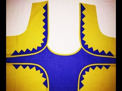 Latest blouse back neck designs cutting and stitching at home by New Kriti Boutique