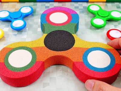 Make Giant Kinetic Sand Fidget Spinner Mad Mattr Learn Colors for Kids