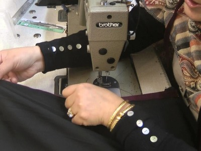 Making a piped neckline for an abbaya
