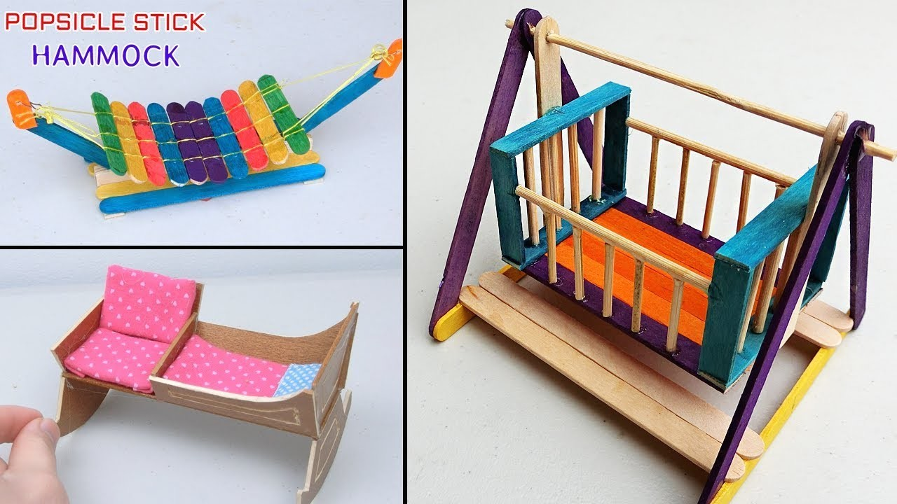 5 Easy Popsicle Stick Crafts Miniature Cradle And Hammock Diy