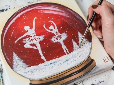 Ballerinas in the Glass Winter Ball - Acrylic painting. Homemeade Illustration (4k)