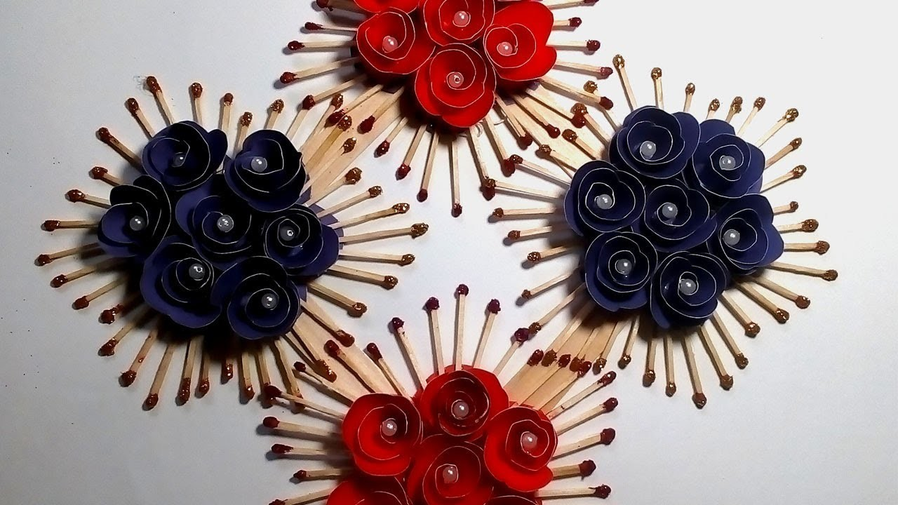 Color Paper And Matchstick Craft Idea Beautiful Wall Piece Idea