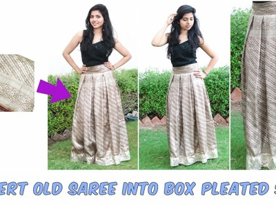 Convert Old Saree into Box Pleated Skirt  No Maths Needed Wedding season Outfit DIY