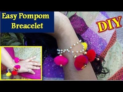 DIY Easy Pom Pom Bracelet - Homemade Hand Bracelet || How to Make Pom Pom Bracelet at Home- AH Tube