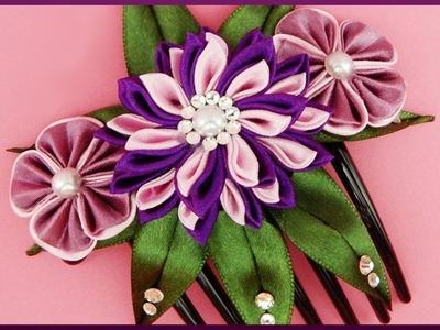 DIY Kanzashi | Stoffblumen Haarkamm | Ribbon flower hair comb | accessories