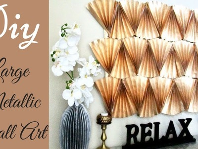 Diy Large Metallic Wall Decor using Papers!!! Inexpensive Wall Decorating Idea