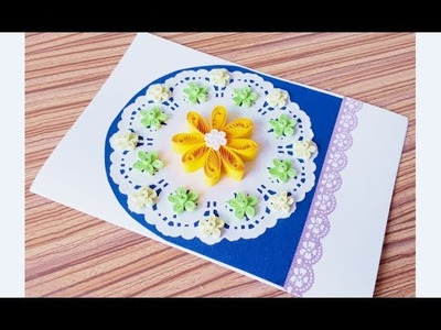 DIY Paper quilling Flower Card Design 36. Quilling flower card. Greeting Card
