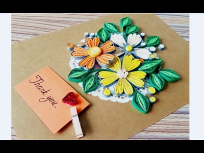 DIY Paper quilling Flower Card Design 39. Quilling flower. Greeting Card