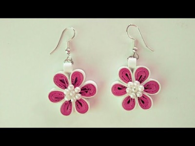 DIY Quilling Flower Earring. How to make Quilling Flower Earring