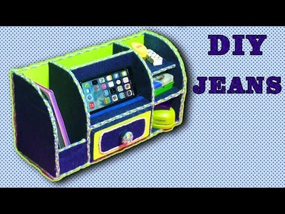 DIY.Reuse old jeans organizer.How to make ORGANIZER FOR DESK WITH CARDBOARD.Tutorial & crafts.